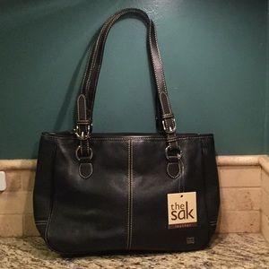 NEW The Sak Black Leather Handbag Organizer Purse